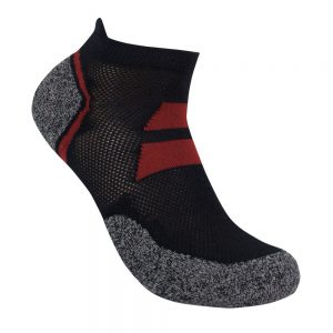 Bamboo charcoal ankle sock black / burnt red