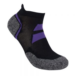 Bamboo charcoal ankle sock black / purple